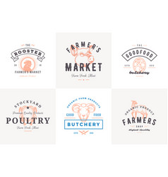 engraving logos and labels farm animals vector image