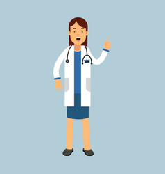Female doctor character in a white coat standing vector