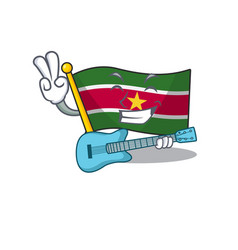 Flag suriname isolated with guitar in mascot vector