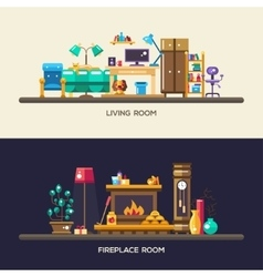 Flat design home interior banners headers set vector image