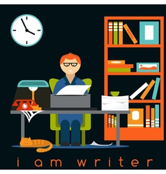 Freelancer writer guy flat design concept vector