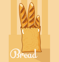 fresh bread inside paper bag vector image