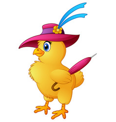 funny cartoon chicken wearing hat with hold a umbr vector image