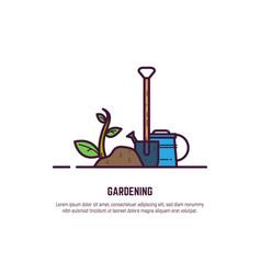 gardening line banner vector image