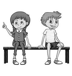 Girl and boy sitting on a bench vector