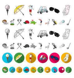 golf and attributes cartoon icons in set vector image