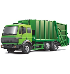 green garbage truck vector image