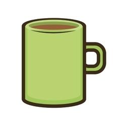 Green mug coffee vector