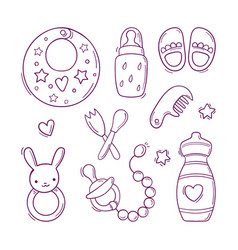 Hand drawn black and white set of toys vector