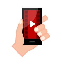 Hand holding a smartphone with a video player app vector