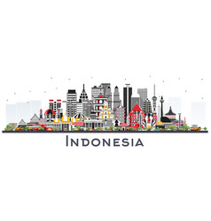 Indonesia cities skyline with gray buildings vector
