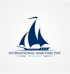 International maritime day with sailboat in flat vector