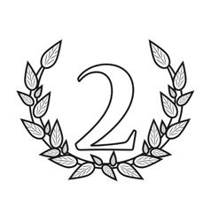 Isolated number two inside wreath design vector