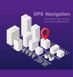 Isometric city map navigations urban cartography vector