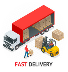 Isometric delivery and shipment service fast and vector