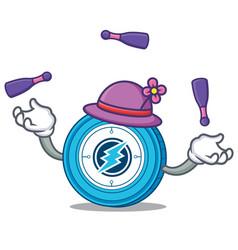 Juggling electroneum coin mascot cartoon vector