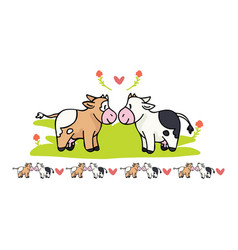 Kawaii cow love cartoon motif vector