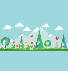 landscape with green trees high mountains and vector image