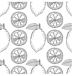 lemons black and white for coloring vector image