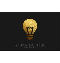 Lightbulb logo template Lightbulb icon Golden vector