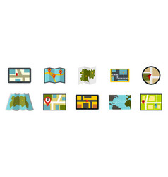 map icon set flat style vector image