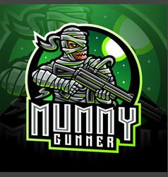 mummy gunner esport mascot logo vector image
