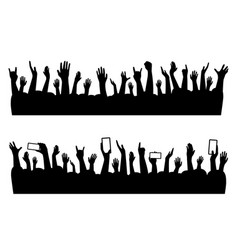 Musical concert hands of people crowd silhouette vector