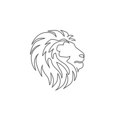 one single line drawing wild lion head vector image