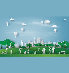 paper art style eco landscape in new york vector image