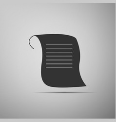 paper scroll icon isolated on grey background vector image