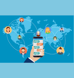 people connecting all over the world vector image