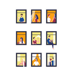 people in windows men and women vector image