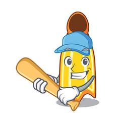 Playing baseball swim fin character cartoon vector
