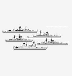 Postwar british guided missile destroyers vector