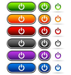 power buttons in different colors vector image