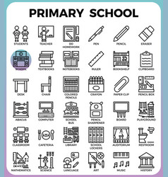 Primary school icon set vector