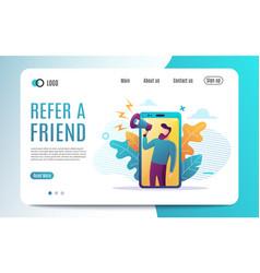 Refer a friend concept people shout on megaphone vector