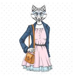 Retro hipster fashion animal fox woman model vector