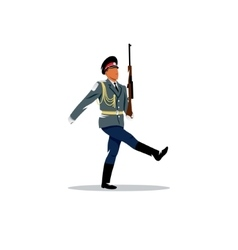 Russian army The soldier honor guard marches vector
