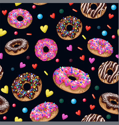 Seamless pattern with yummy donuts vector