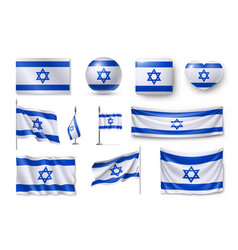 set israel flags banners banners symbols flat vector image