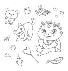 set joyful child and playful kitten baby vector image