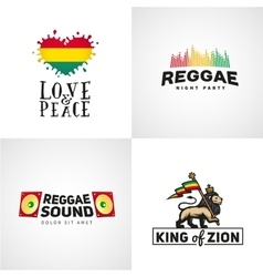 Set of reggae music design Love and peace vector