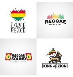 Set reggae music design love and peace vector
