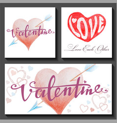 set valentines day cards with hearts and arrows vector image