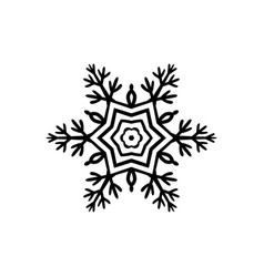 simple black freehand icon of a snowflake vector image