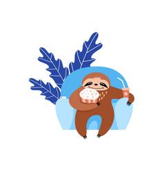Sloth watchig movie vector
