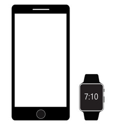 Smartphone and digital smart watch isolated on vector