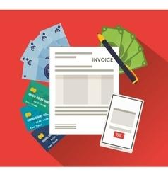 Smartphone bills document paymet financial item vector