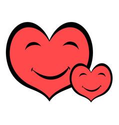 Smiling heart faces icon icon cartoon vector